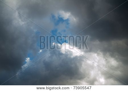 Texture Of Storm Clouds With Blue Sky