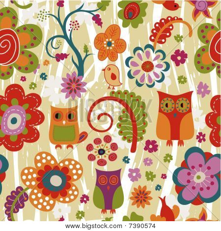 Color Floral and Owl