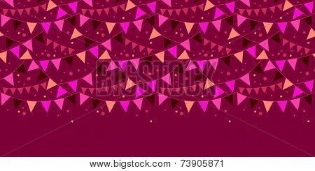 Vector christmas decorations flags horizontal border seamless pattern background