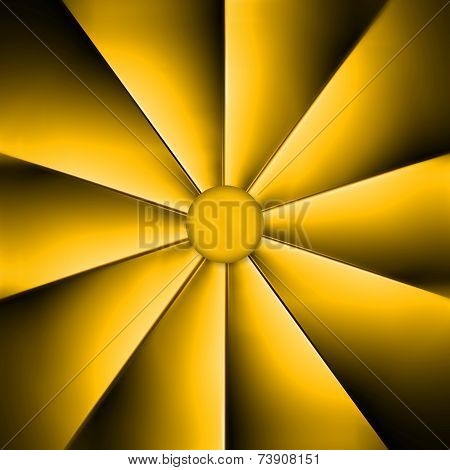 A Yellow Fan On Dark Background