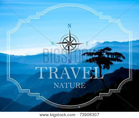 eps10 vector photo realistic mountain landscape postcard travel background