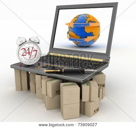 Laptop on cardboard boxes wiht clock and pen. Concept of online goods orders worldwide in the stream 24 hours.  3d illustration on white background