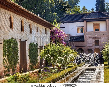 Generallife Alhambra White Palace Orange Tree Garden Granada Andalusia Spain