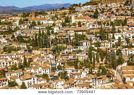 Alhambra White Buildings Cityscape Churches Albaicin Carrera Del Darrogranada Andalusia Spain