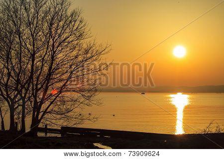 Sunset Beside The Lake