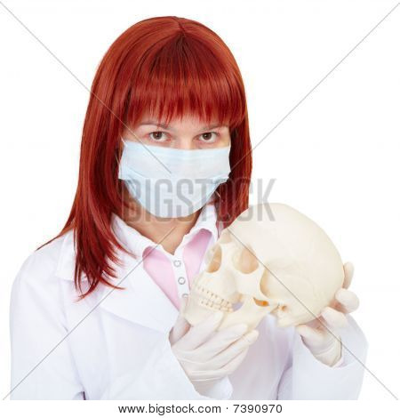 Woman - Nurse With Skull In Hands