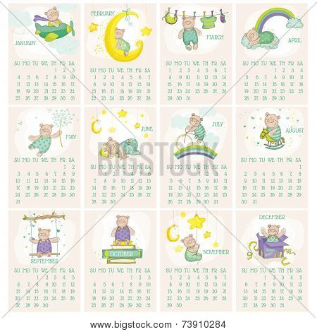 Baby Bear Calendar 2015 - week starts with Sunday - in vector
