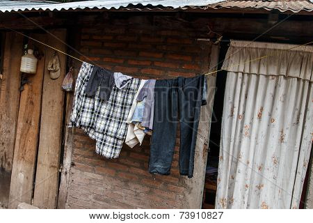 Hung Clothes Of A Thread In Nicaraguan House