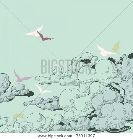 Sky background, clouds and birds flying