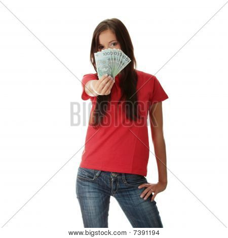 Young Lady Holding Cash
