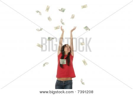 Young Woman In Polish Money Rain