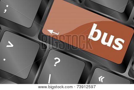 Bus Word Icon On Laptop Keyboard Keys