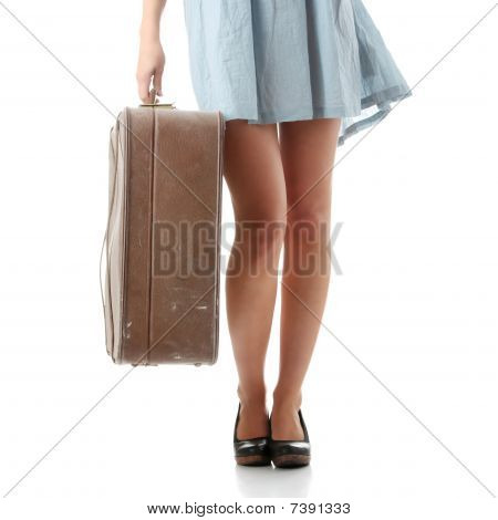 Caucasian Woman Legs With Travel Case