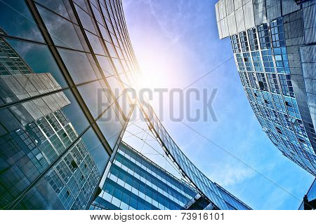 modern glass and steel office buildings near Potsdamer Platz, Berlin, Germany