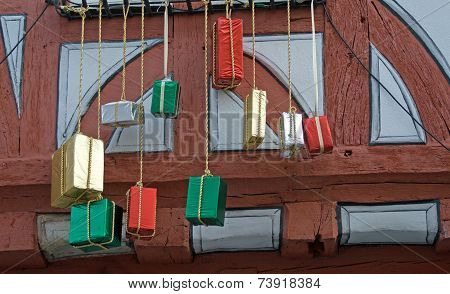 Half-timbered house with Christmas decoration