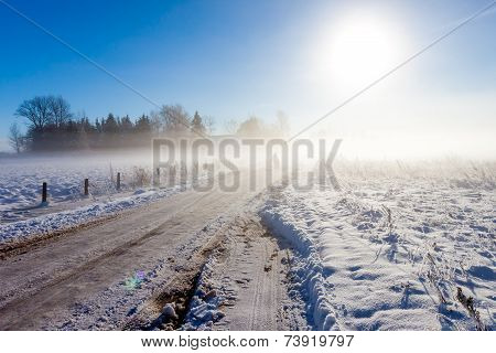 Mother And Child On Foggy Snow Road