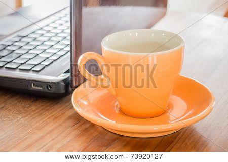 Hot Cup Of Tea On Work Table
