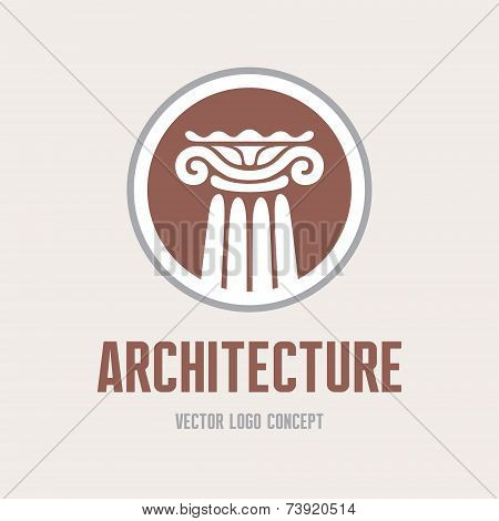 Architecture - vector logo concept. Antique column abstract sign. Architectural order.