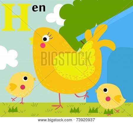Animal alphabet for the kids:  H for the Hen