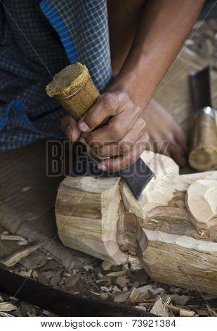 Burmese Artisan Works Wood