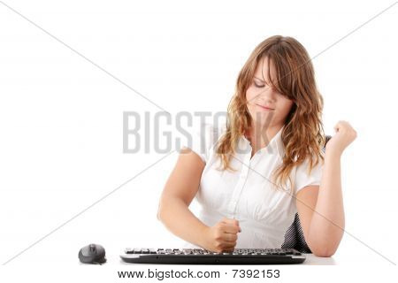 Young Woman Working On Computer
