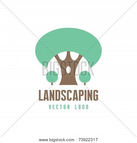 Abstract Tree Sign - Vector logo template. Landscaping, forest and nature concept illustration.