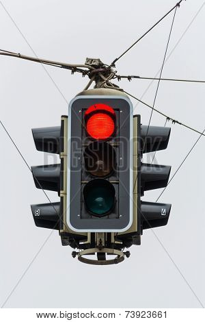 a traffic light with red light. symbol photo for maintenance, economy, failure