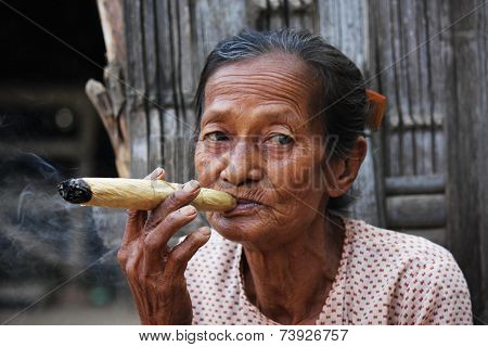 Asiatic Woman Smoking