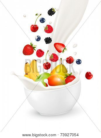 Bowl of healthy fruit and splash of milk. Vector illustration.