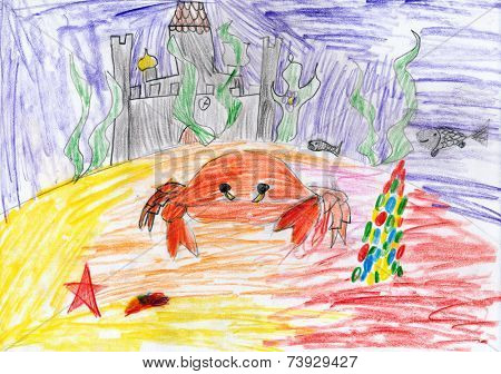 underwater crab and sunken castle. child drawing