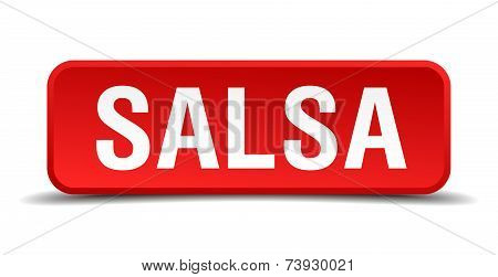 Salsa Red Square Button Isolated On White