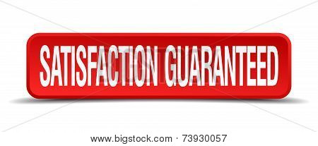 Satisfaction Guaranteed Red 3D Square Button Isolated On White