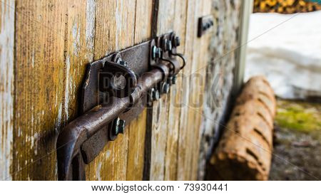 Old Bold On A Wood Door