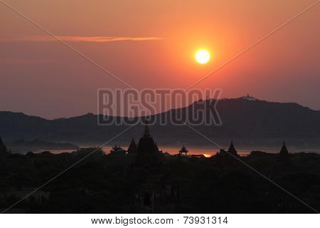 Sunset, River And Temples