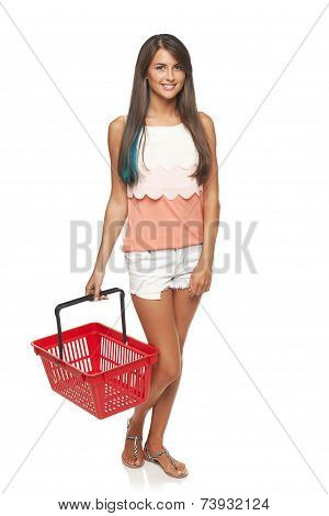 Woman with red shopping basket
