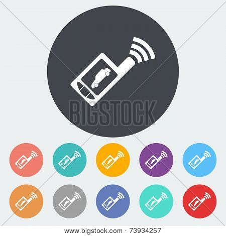 Car remote control flat icon.