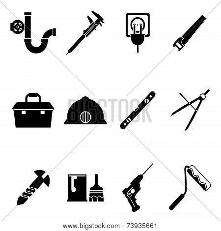 Building Equipment Icons and Construction Tools Symbols Silhouette Isolated  Set Vector Illustration