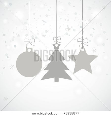 Grey Christmas Card Stars Tree Snowfall