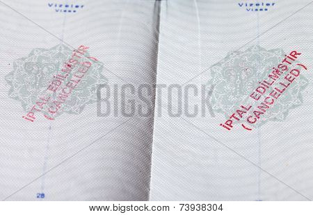Pages For Visa Marks In The Turkish Cancelled Passport