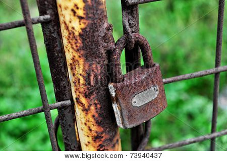 Rusty Closed Lock On A Gate