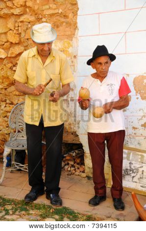 Senior Musicians Playing In The Street Of Trinidad, Cuba. Oct 2008