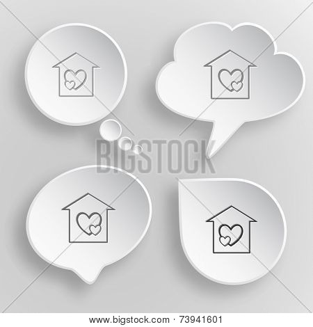 Orphanage. White flat vector buttons on gray background.