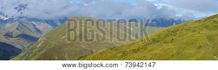 Panorama Of Caucasus Mountains In Upper Svanetia, Historic Province In Georgia,famous Trekking Route