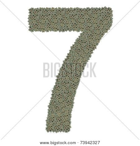 number 7 made of old and dirty microprocessors