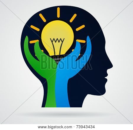 Thinking Head. Palm With Rays Of Light From The Lamp, Business Concept, New Idea