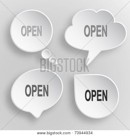 Open. White flat raster buttons on gray background.