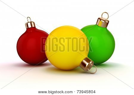 3d Christmas ball ornaments on white background