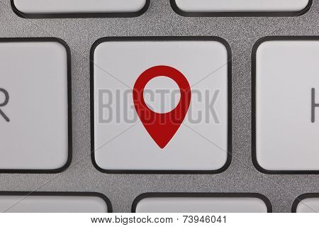 Red map pointer on Keyboard