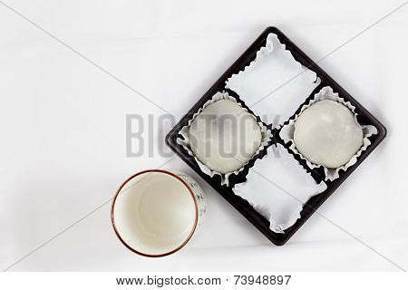 Half Pack of White Mochi and Japanese Tea Cup