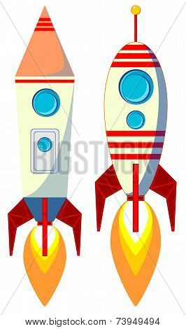 Flying Rocket with Illyuminotor and Flames from the Engine. Color, Vector Illustration
